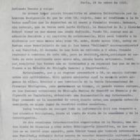 Carta del Dr. Tálice dirigida al  Profesor Dr. Justino Jiménez de Aréchaga