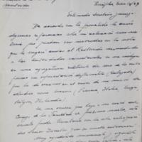 Carta del Dr. Tálice al Secretario de la Facultad de Humanidades y Ciencias Dr. Luis Giordano